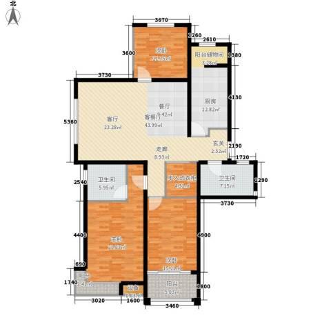 东方明珠广场3室1厅2卫1厨143.00㎡户型图