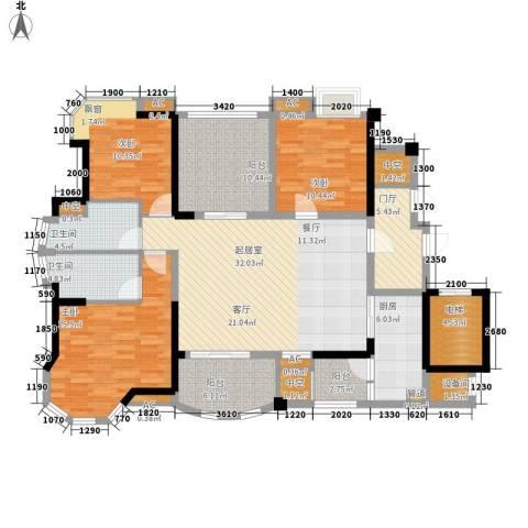 碧桂园翡翠山3室0厅2卫1厨139.00㎡户型图