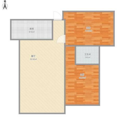 保集玫瑰湾2室1厅1卫1厨94.00㎡户型图