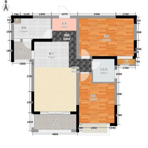 广弘城国际社区2室0厅1卫1厨90.00㎡户型图