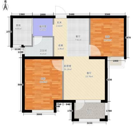 荣盛阳光逸墅2室0厅1卫1厨78.00㎡户型图