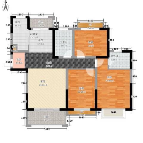 广弘城国际社区3室0厅2卫1厨108.00㎡户型图