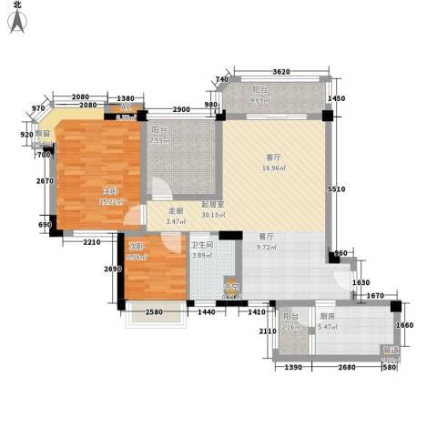 碧桂园翡翠山2室0厅1卫1厨87.00㎡户型图