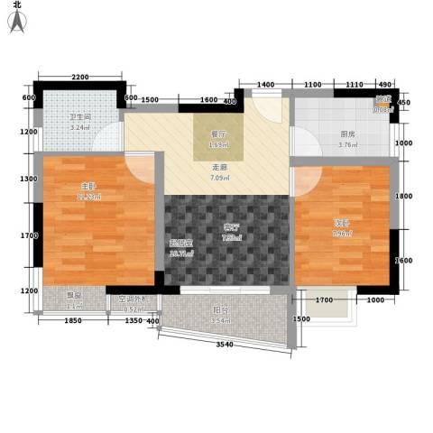 阳光汇2室0厅1卫1厨50.00㎡户型图