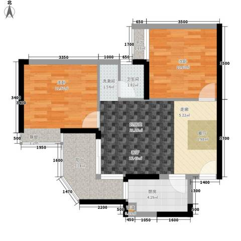 阳光汇2室0厅1卫1厨59.00㎡户型图