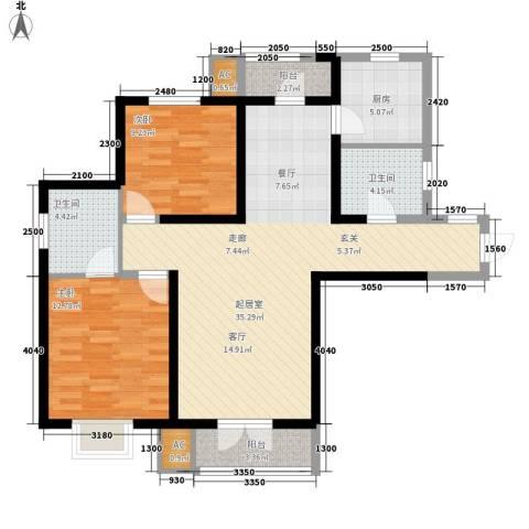 渤海度假村2室0厅2卫1厨118.00㎡户型图
