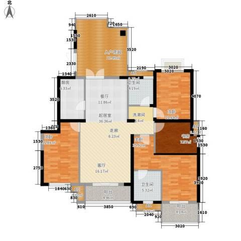 湘江世纪城揽江苑4室0厅2卫1厨144.00㎡户型图