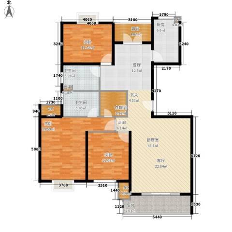 丽景国际3室0厅2卫1厨138.00㎡户型图