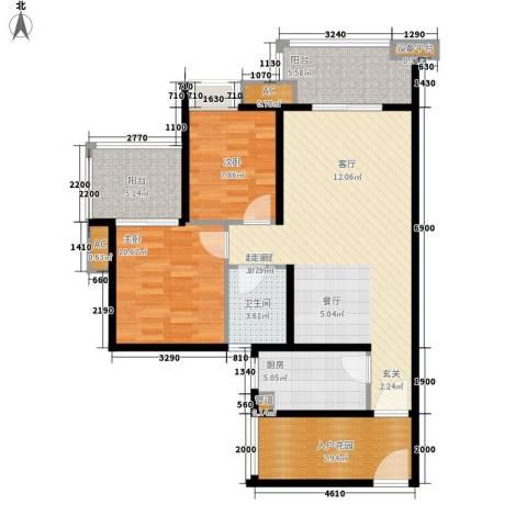 丽景国际2室0厅1卫1厨108.00㎡户型图