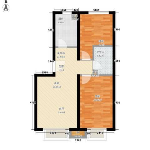 sala私人酒店2室0厅1卫1厨77.00㎡户型图