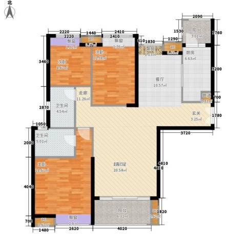 保利国际广场3室0厅2卫1厨129.00㎡户型图