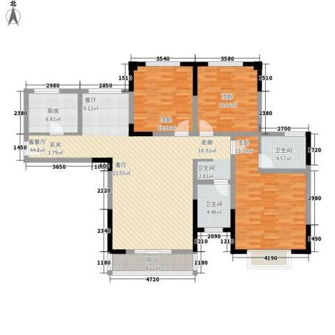 青秀家园3室1厅2卫1厨124.00㎡户型图