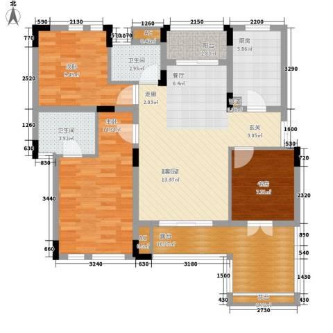 同创高原3室0厅2卫1厨97.00㎡户型图