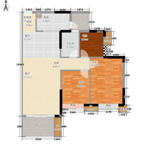 保利国际广场3室0厅1卫1厨101.00㎡户型图