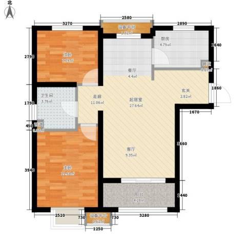 瞰海轩2室0厅1卫1厨91.00㎡户型图