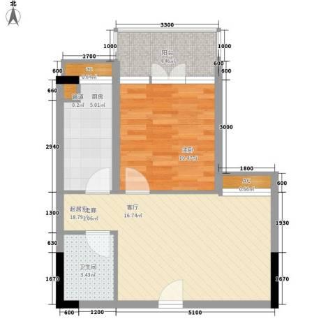 新城绿洲1室0厅1卫1厨46.00㎡户型图