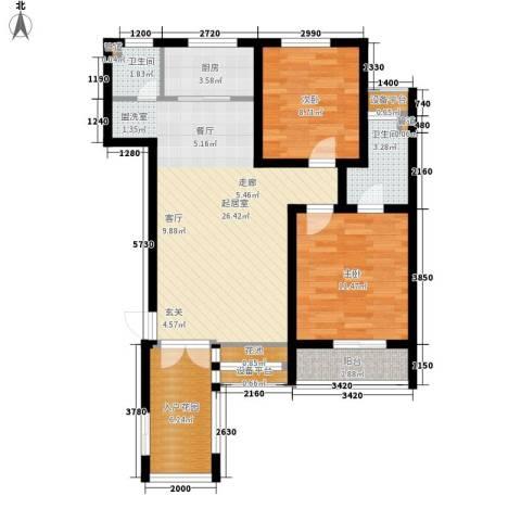 邢台橄榄城2室0厅2卫1厨95.00㎡户型图