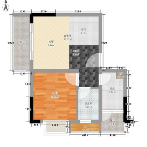 国盛伟岸滨洲1室1厅1卫1厨44.00㎡户型图