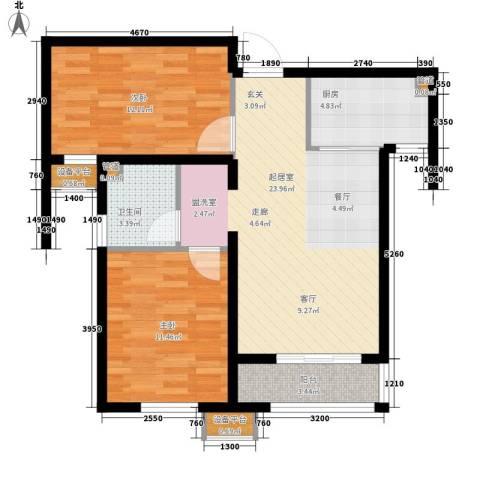 瞰海轩2室0厅1卫1厨90.00㎡户型图
