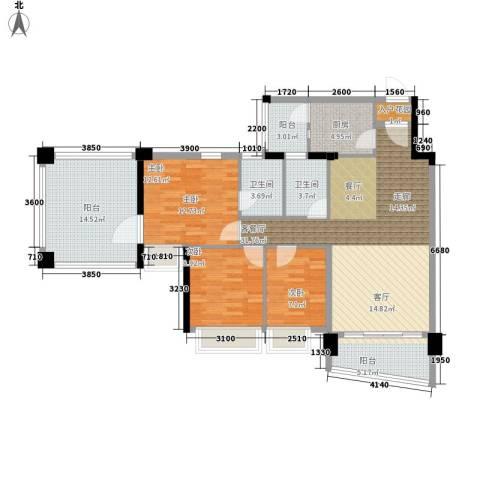 雅居乐・青花南湖3室1厅2卫1厨137.00㎡户型图