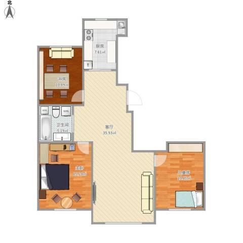景康名苑3室1厅1卫1厨118.00㎡户型图
