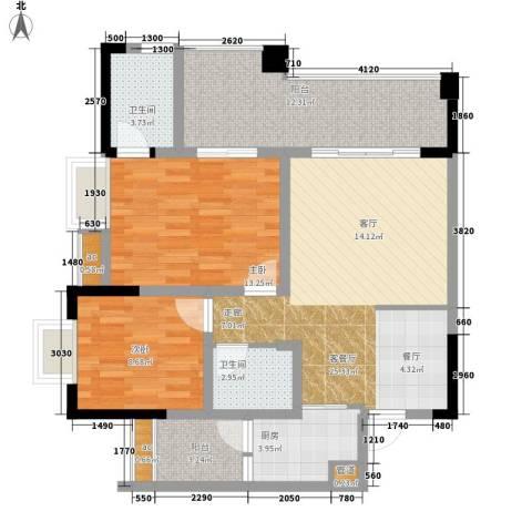 国盛伟岸滨洲2室1厅2卫1厨74.91㎡户型图
