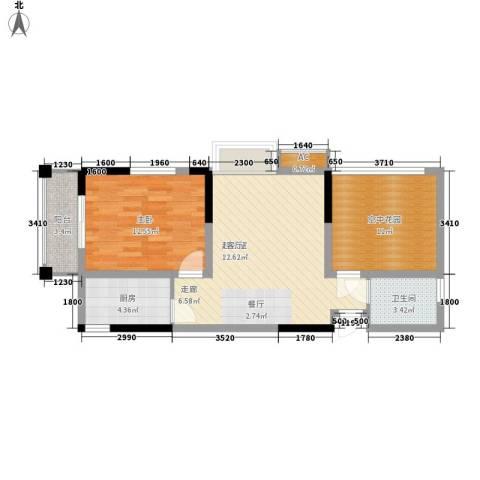 钜和天乐苑1室0厅1卫1厨66.35㎡户型图