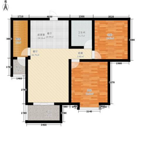 桃源山庄2室0厅1卫1厨90.99㎡户型图