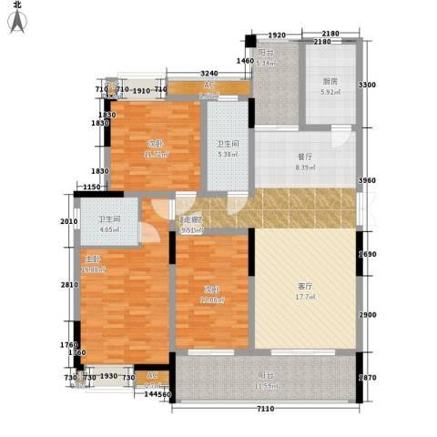 钜和天乐苑3室0厅2卫1厨127.58㎡户型图