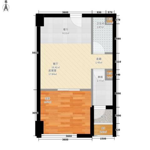 东原黄山大道东1室0厅1卫1厨39.00㎡户型图