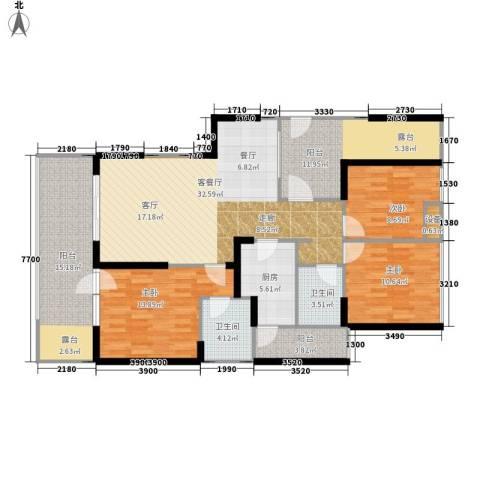 利通城南晶座3室1厅2卫1厨130.00㎡户型图