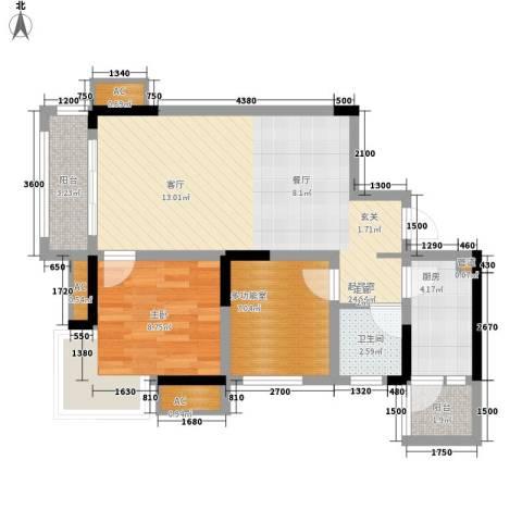 东原黄山大道东1室0厅1卫1厨58.00㎡户型图