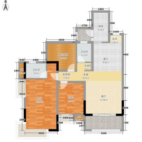 东原黄山大道东2室0厅2卫1厨97.00㎡户型图