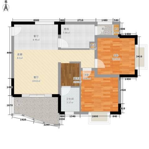 新城绿洲2室0厅1卫1厨80.00㎡户型图