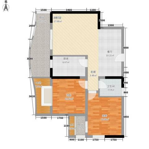 新城绿洲2室0厅1卫1厨81.69㎡户型图