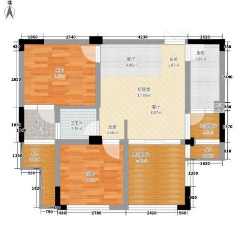 森望滟澜湖2室0厅1卫1厨86.00㎡户型图