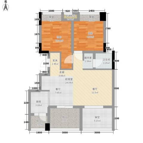 红山国际社区2室0厅1卫1厨91.00㎡户型图