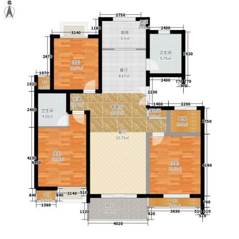 天龙城市花园3室1厅2卫1厨103.16㎡户型图