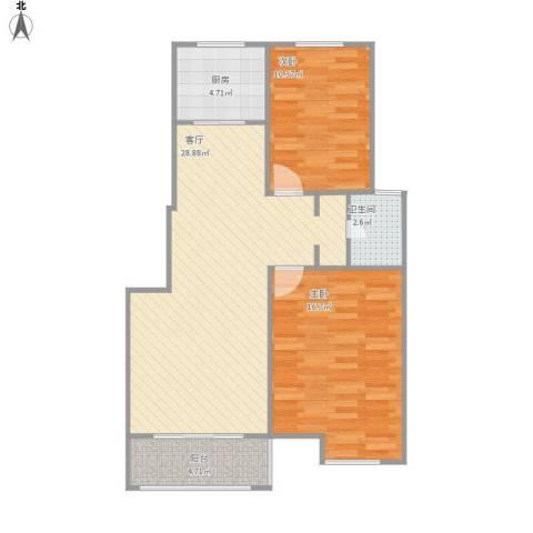 丰和园 改造2室1厅1卫1厨92.00㎡户型图