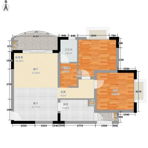 新城绿洲2室0厅1卫1厨78.00㎡户型图