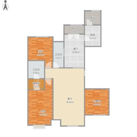 哈尔滨星光耀广场3室2厅2卫1厨134.00㎡户型图