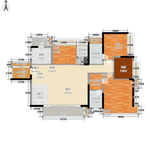 宝嘉上筑4室1厅3卫1厨169.00㎡户型图