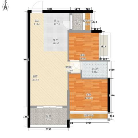 宝嘉上筑2室1厅1卫0厨77.00㎡户型图