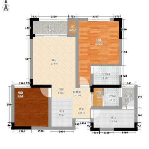 森望滟澜湖2室0厅2卫1厨92.00㎡户型图
