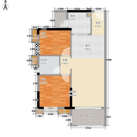 保利国际广场2室0厅1卫1厨84.00㎡户型图