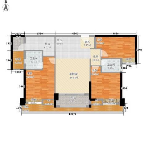 保利国际广场3室0厅2卫1厨115.00㎡户型图