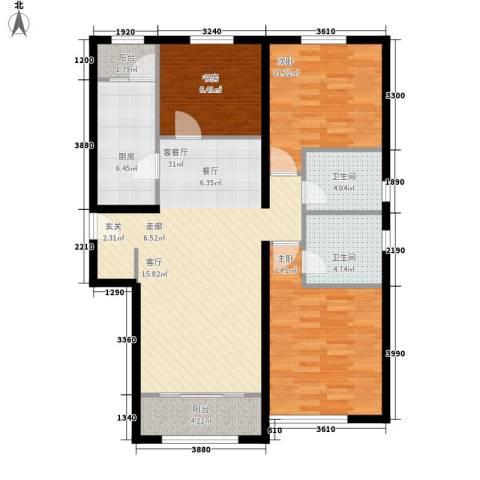 荷堂3室1厅2卫1厨121.00㎡户型图