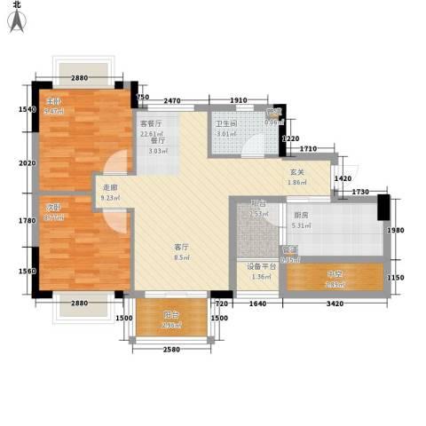 安南丽苑2室1厅1卫1厨87.00㎡户型图