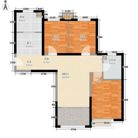 荷堂3室1厅1卫1厨126.00㎡户型图
