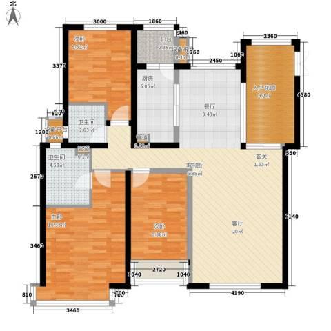 荷堂3室1厅2卫1厨142.00㎡户型图